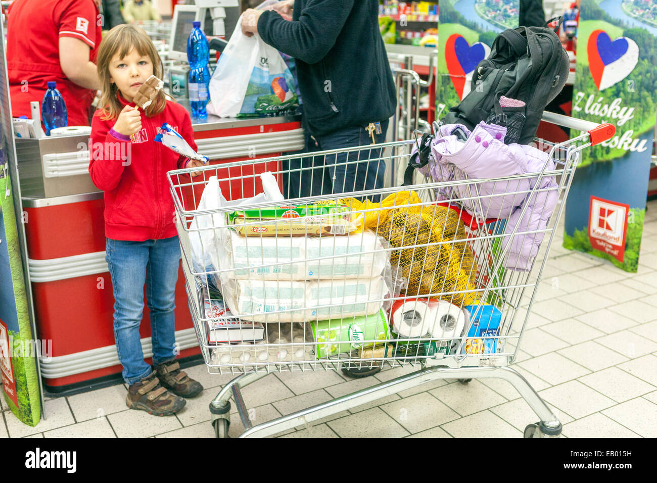 People shopping, Supermarket trolley Prague, Czech Republic Europe - Stock Image
