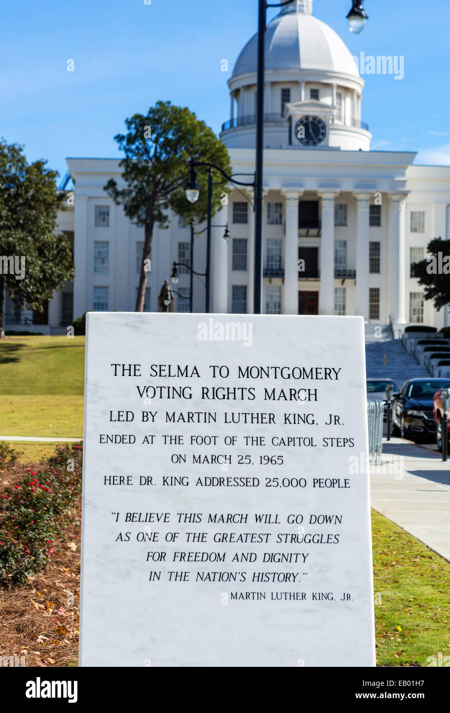 Plaque commemorating 1965 Selma to Montgomery Voting Rights March in front of Alabama State Capitol, Montgomery, - Stock Image