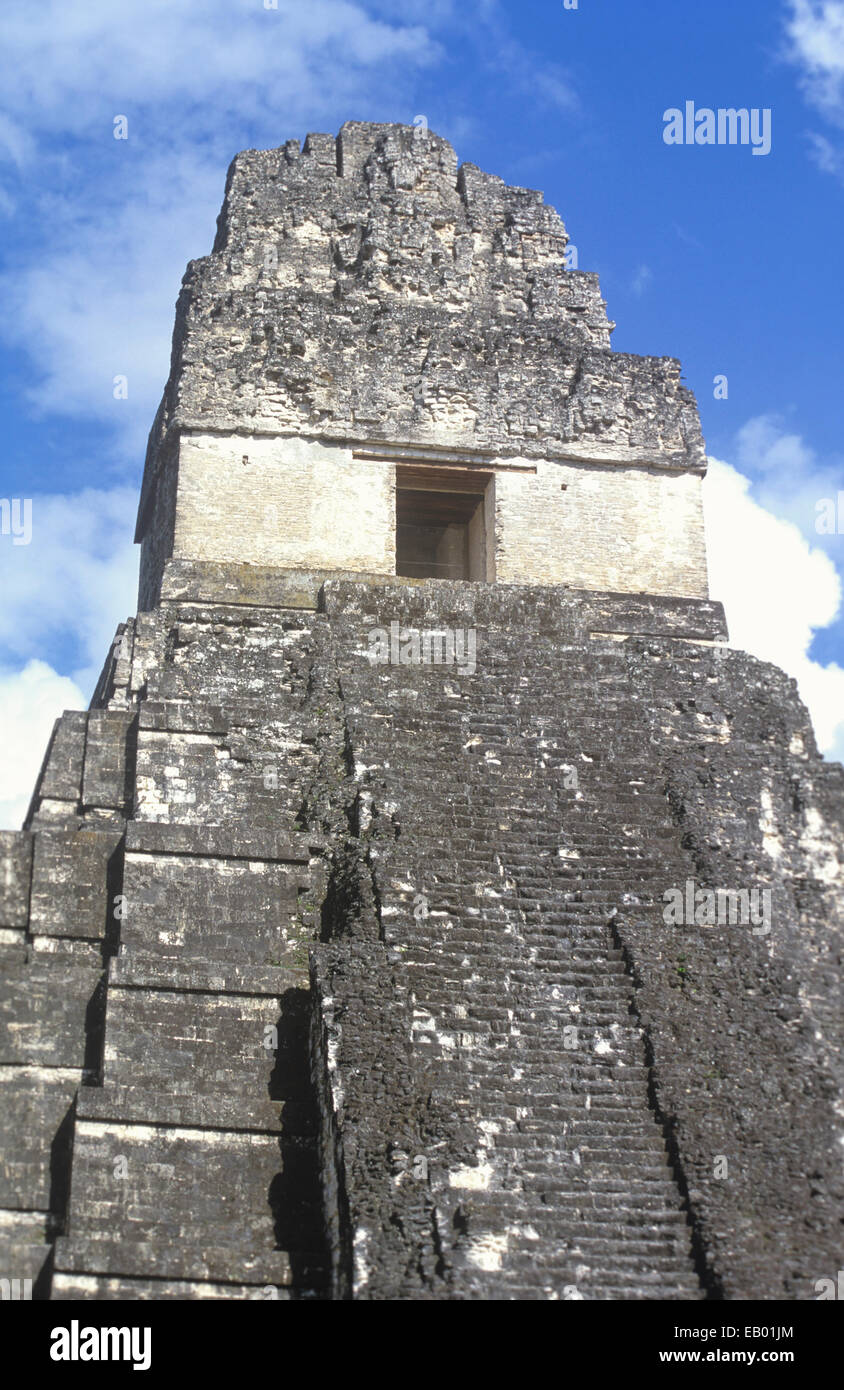 Temple I (or Temple of the Great Jaguar) at Tikal National Park, Guatemala, Central America - Stock Image