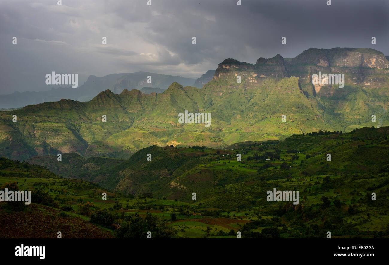 Views of the Simien mountains, Ethiopia - Stock Image