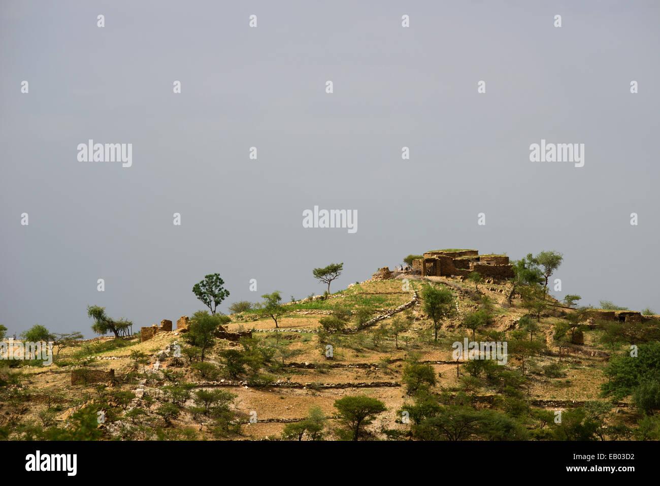 Traditional stone houses of the Tigray, Ethiopia - Stock Image