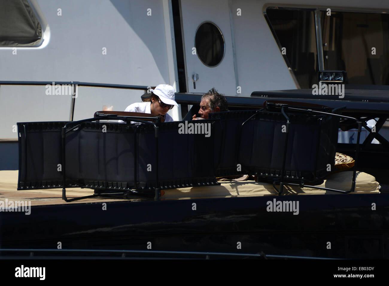 Italian Fashion Designer Roberto Cavalli Sunbathing On His Luxery Stock Photo Alamy