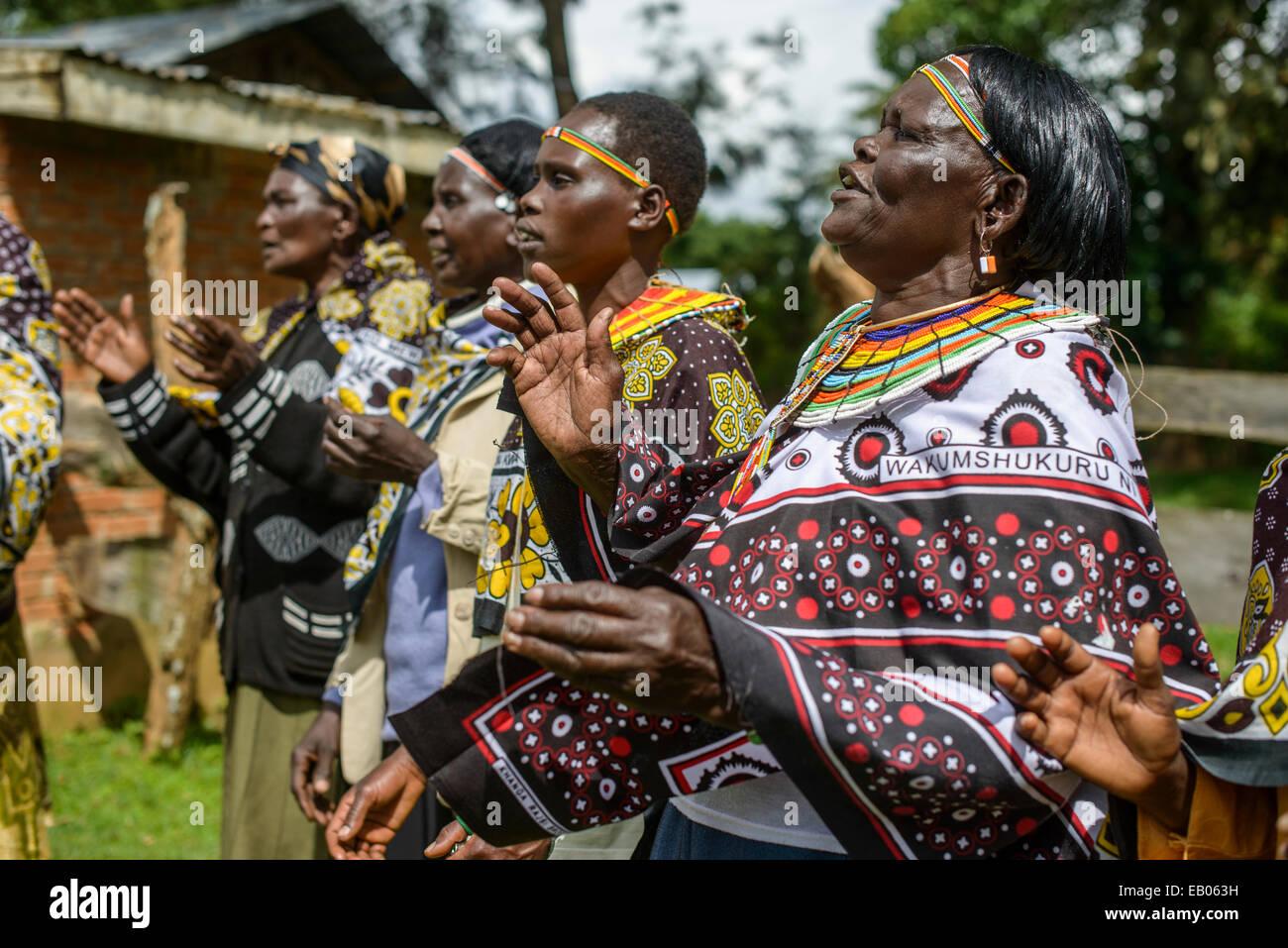Women of the Pokot tribe sing and dance, Kenya - Stock Image