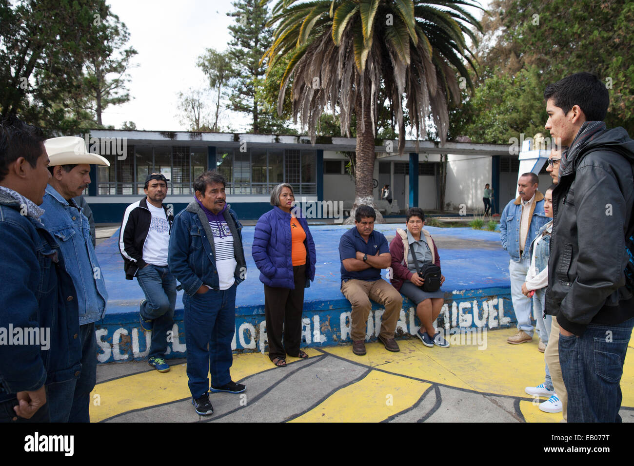 Parents of the 43 missing students from Ayotzinapa's teacher training college meet with student in Jalisco's State, Stock Photo