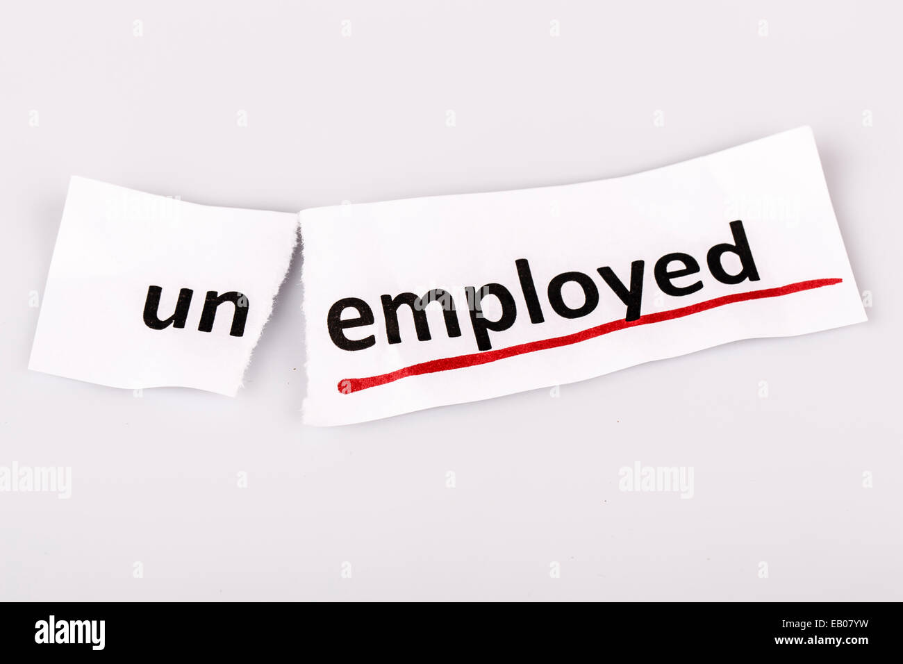 The word unemployed changed to employed on torn paper and white background - Stock Image
