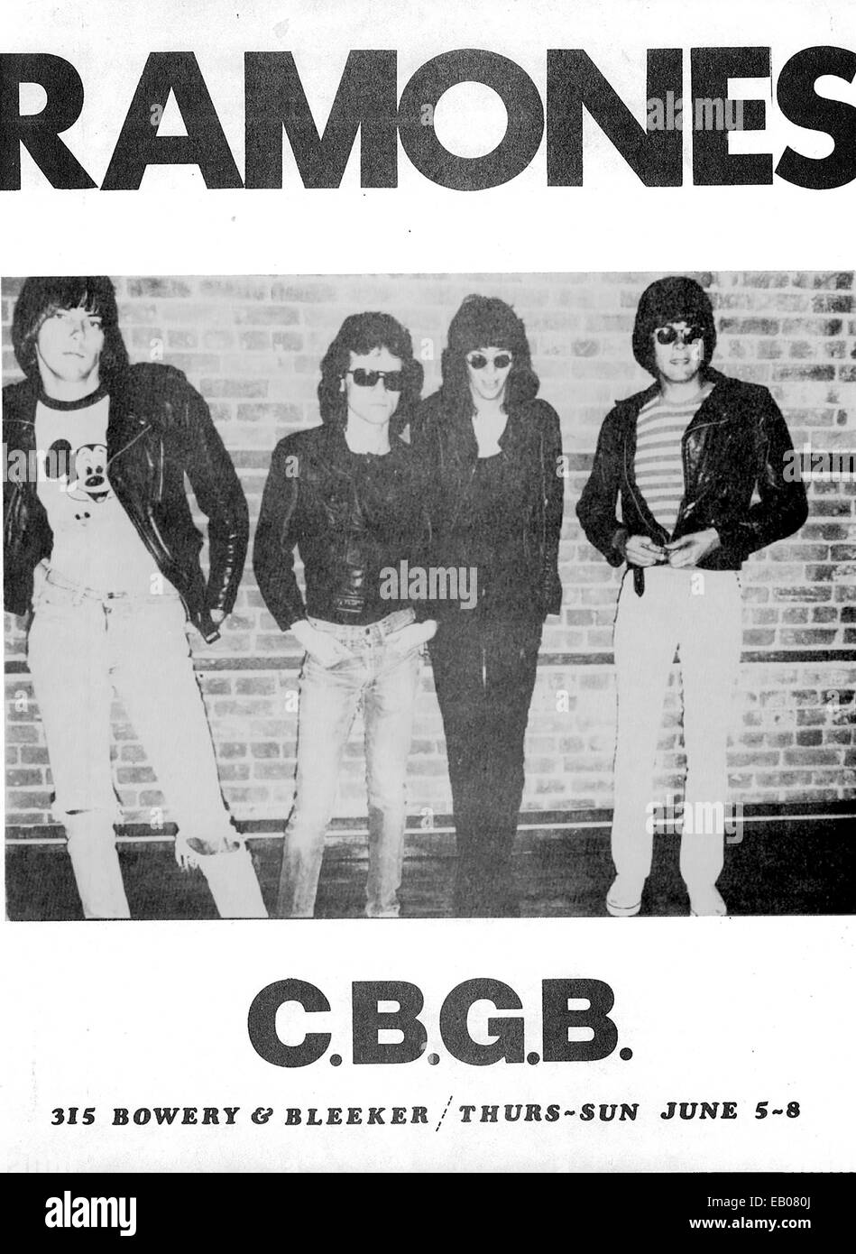 THE RAMONES, circa 1970s. Flyer promoting Ramones concert at CBGB in New York City. - Stock Image