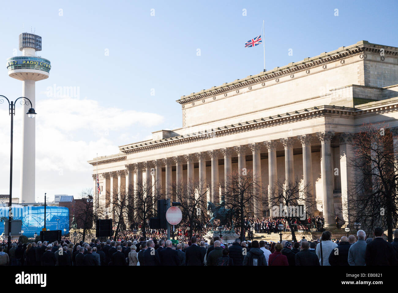 The Union Flag at half mast on top of St George's Hall in Liverpool on Remembrance Day 2013. - Stock Image