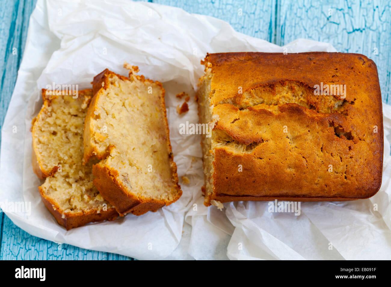 Banana loaf cake - Stock Image