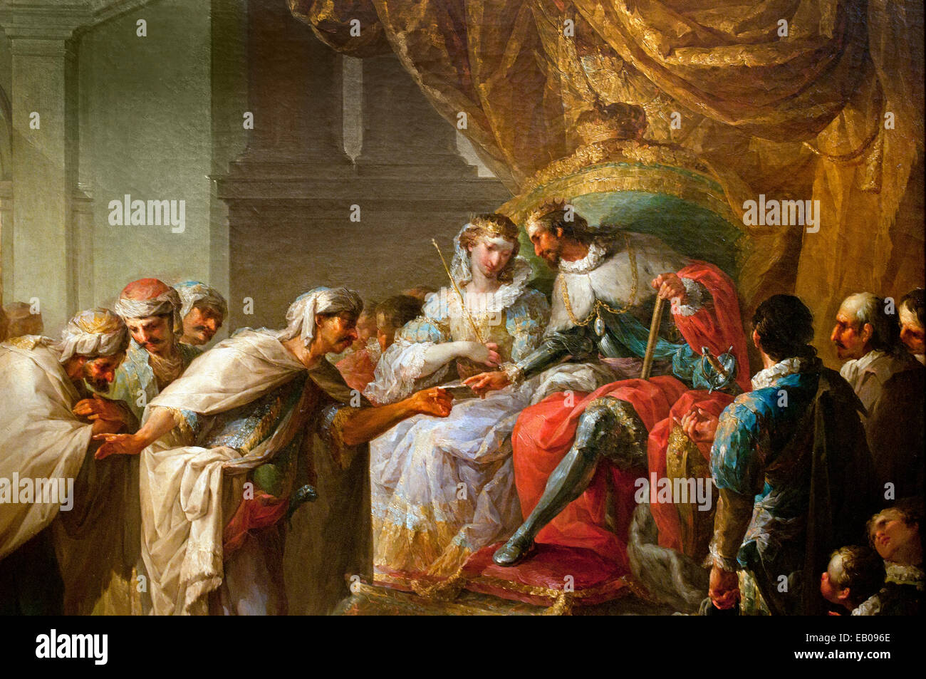 The Catholic Monarchs of Spain receiving the embassy of the king of Fez ( Morocco ) by Vicente Lopez Portana 1772 - Stock Image