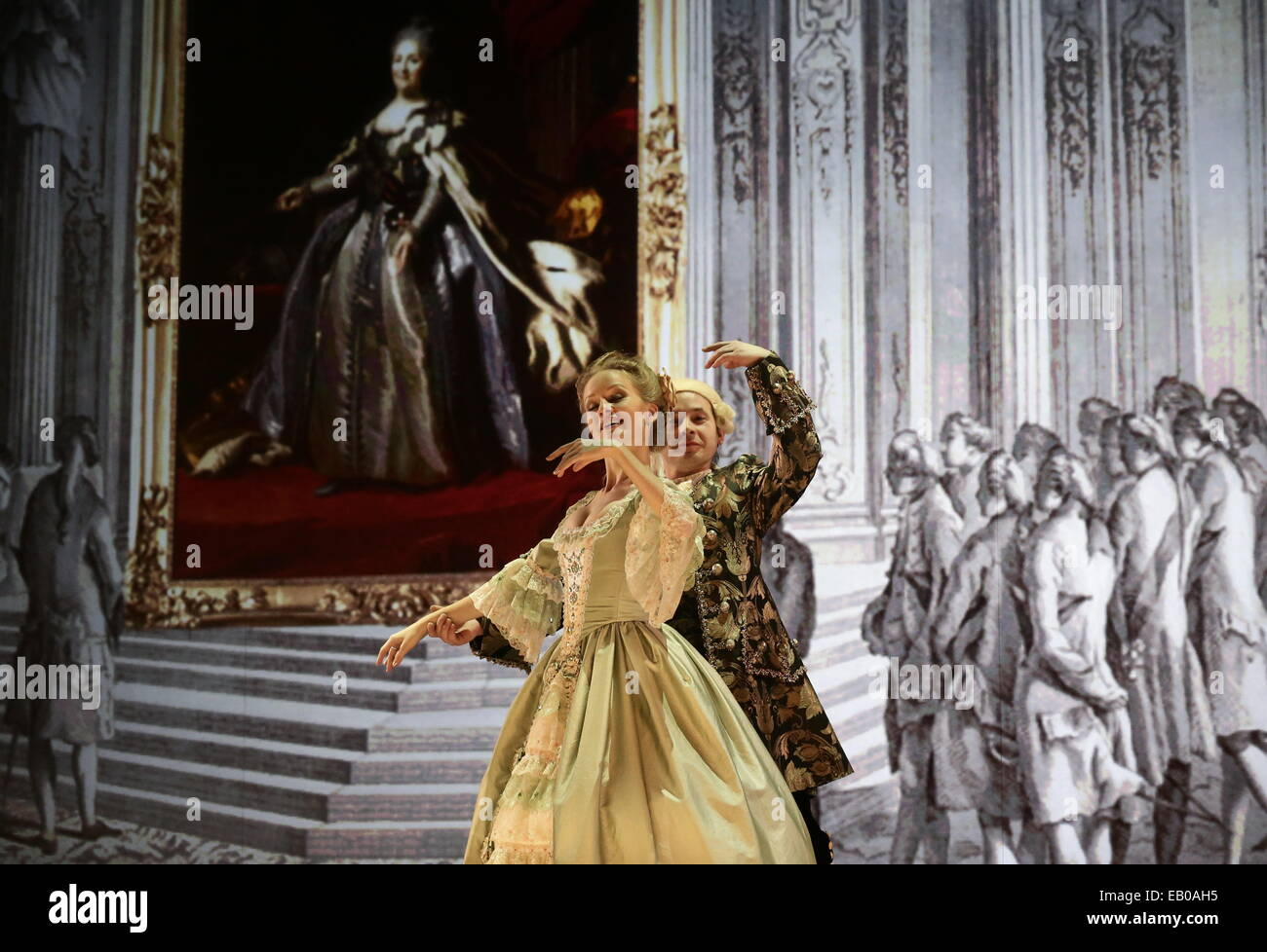 St. Petersburg, Russia. 22nd Nov, 2014. People wearing historical costume dance during the 'Animated' Ball - Stock Image