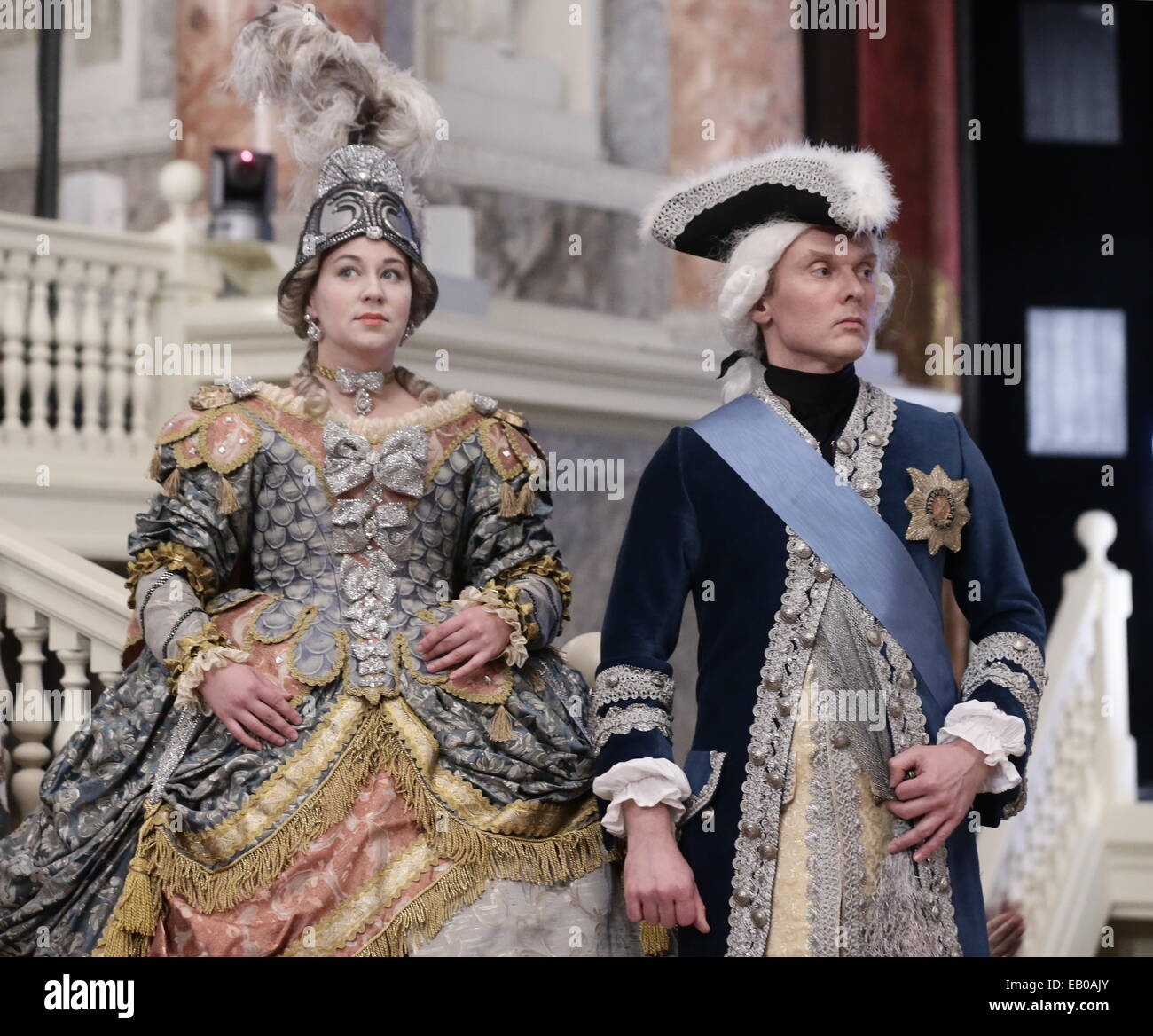 St. Petersburg, Russia. 22nd Nov, 2014. Actors wearing historical costume perform during the 'Animated' - Stock Image