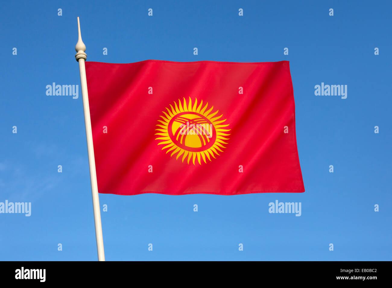 Flag of Kyrgyzstan - Stock Image