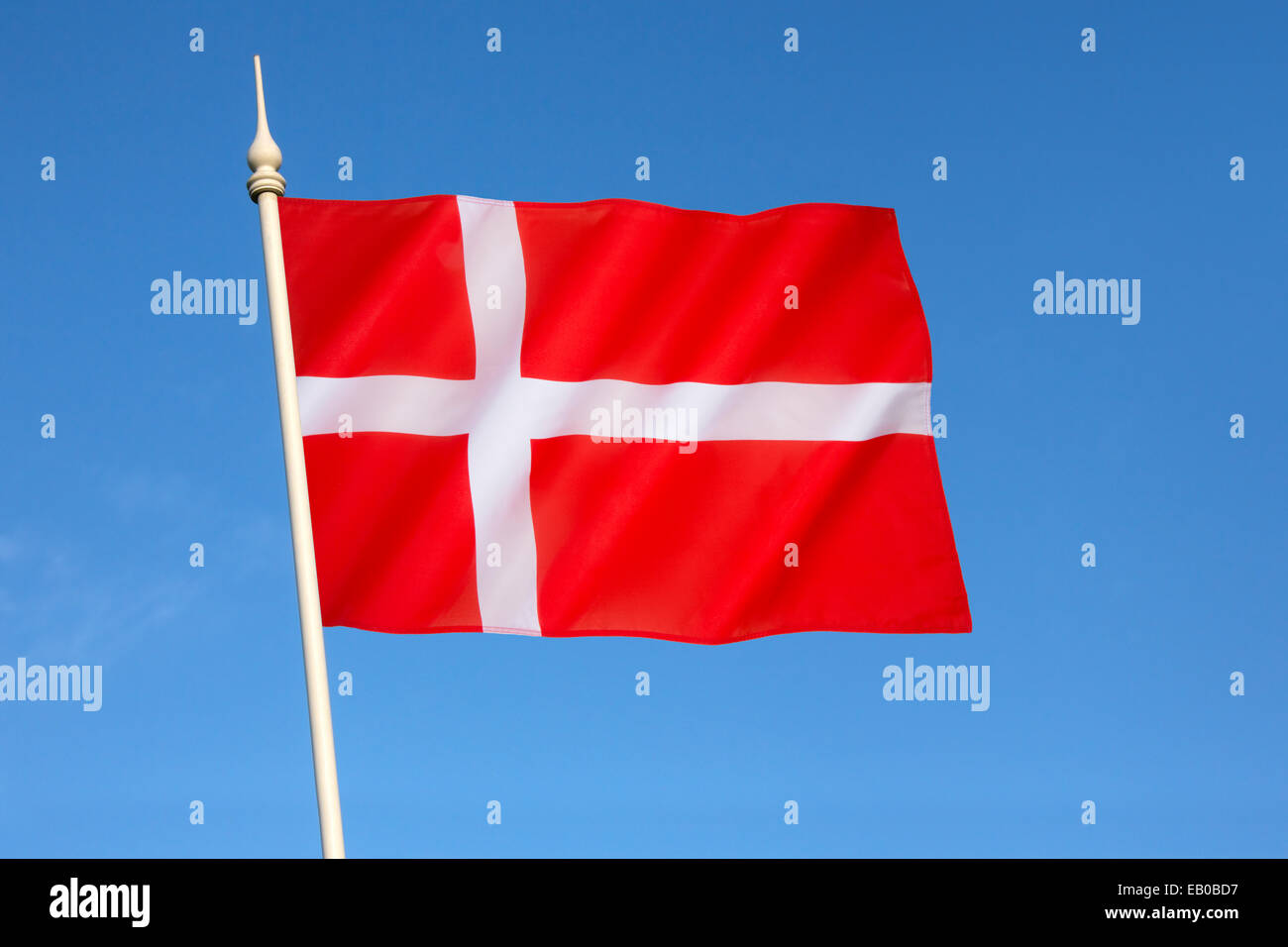 Flag of Denmark - Dannebrog Stock Photo