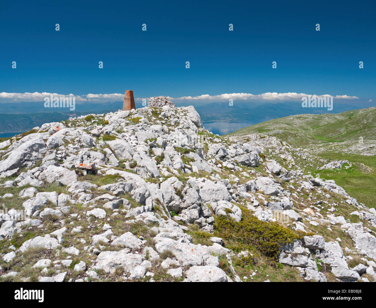 Border marker post Kota F10 between Albania and Macedonia, in Galicica National Park, FYR Macedonia Stock Photo