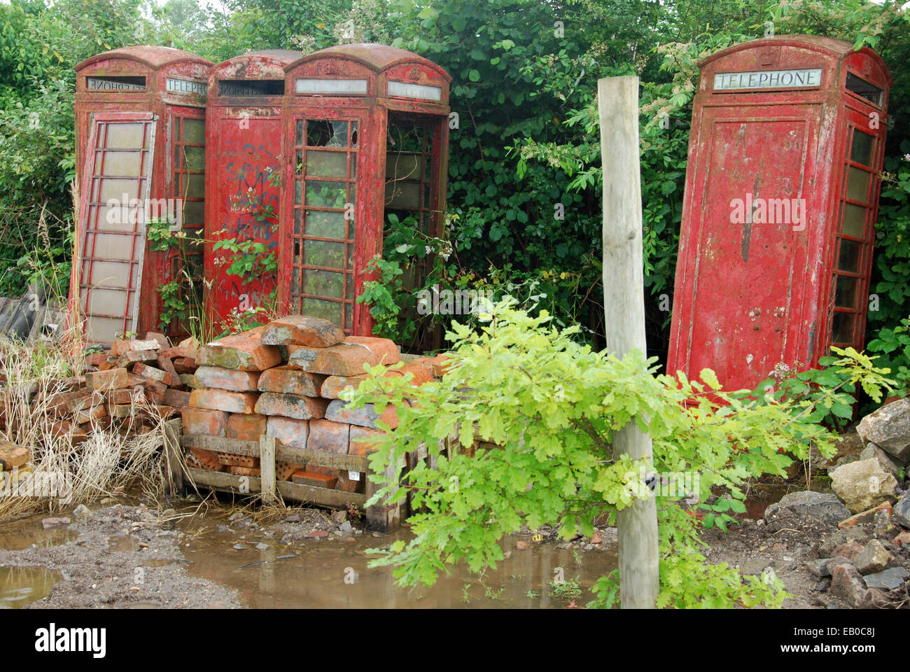 derelict classic red phone boxes - Stock Image