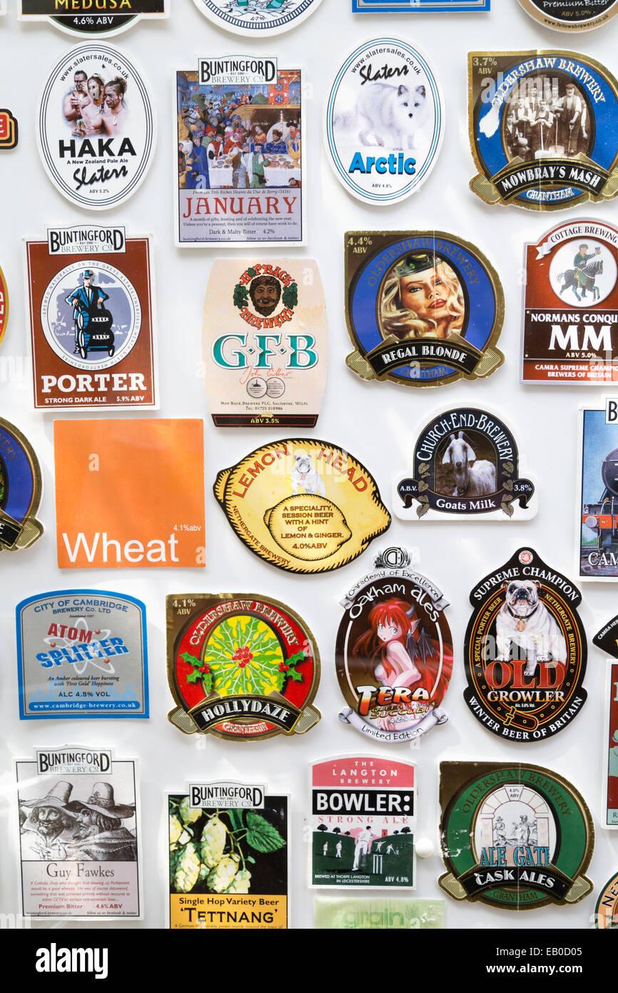 UK, Cambridge, names of beers. - Stock Image