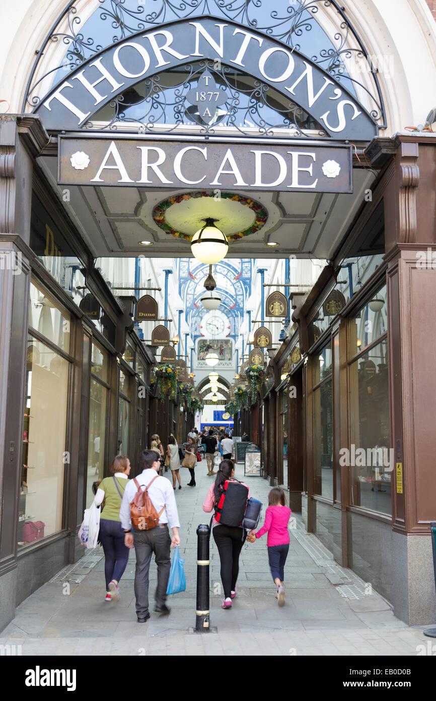 UK, Leeds, entrance to Thornton's Arcade. - Stock Image