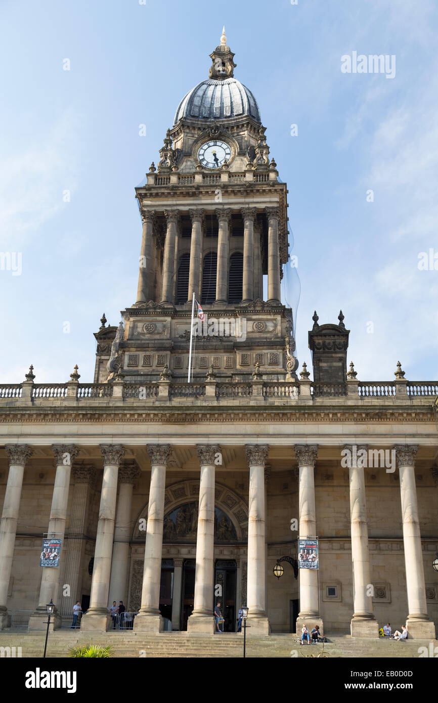UK, Leeds, Town Hall clock tower. - Stock Image