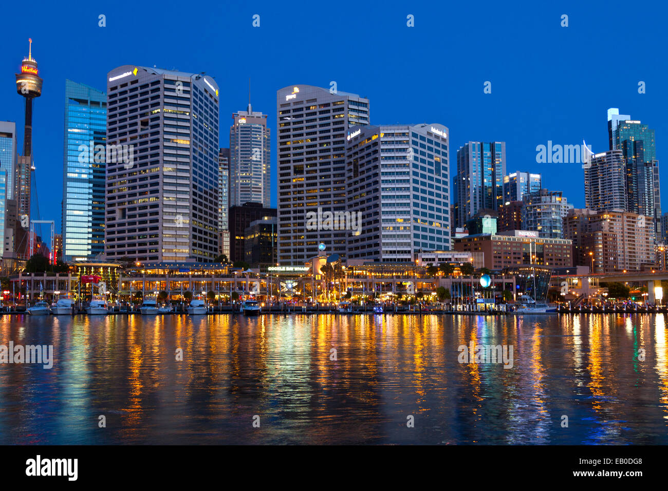 Darling Harbour Reflections and Illuminations Sydney NSW Australia - Stock Image