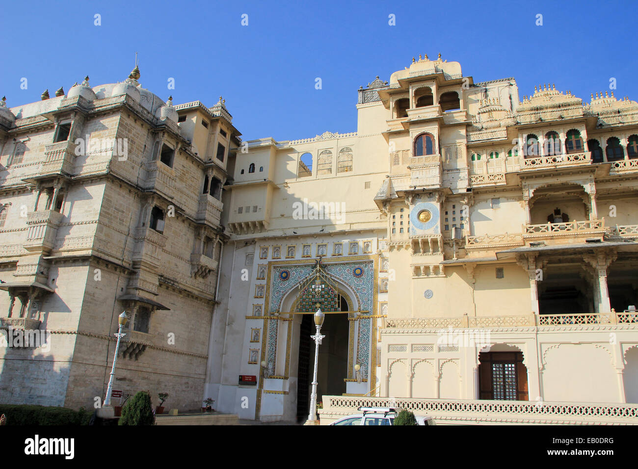 Entrance and facade of magnificent City Palace, Udaipur, Rajasthan, India, Asia - Stock Image