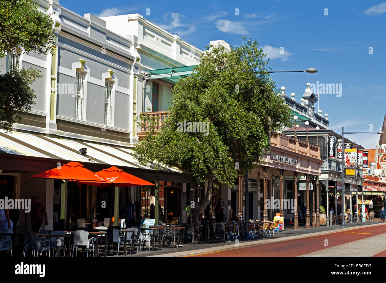 Cafes on Cappuccino Strip Fremantle Perth Western Australia - Stock Image