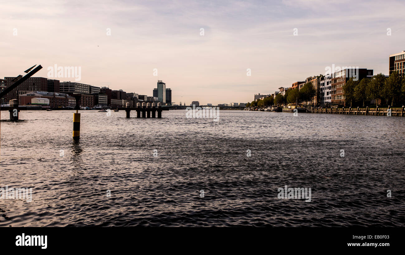 Amsterdam Harbor view from Java Eiland - Stock Image