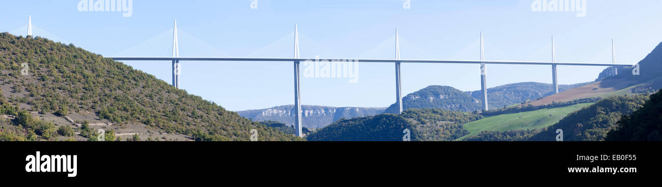 Designed by the British architect Norman Foster, the Millau viaduct is the world's tallest cable-stayed bridge - Stock Image