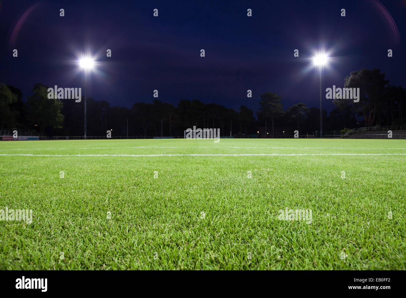 soccer field with spot lights (background) - Stock Image