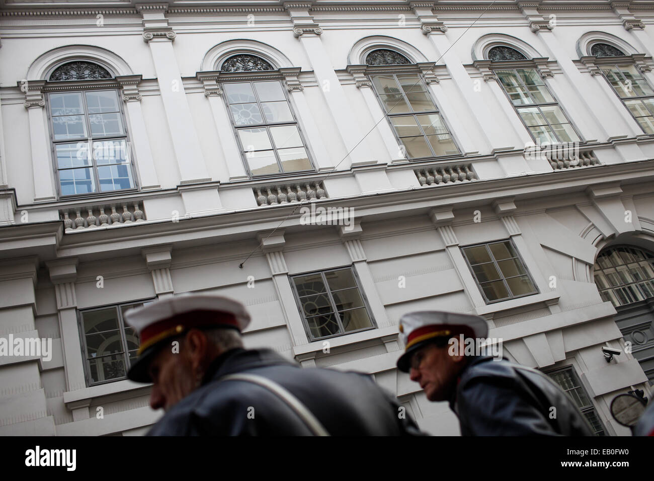 Vienna, Austria. 23rd Nov, 2014. Two policemen stand guard outside the meeting place of Iran and P5 1 group in Vienna, - Stock Image