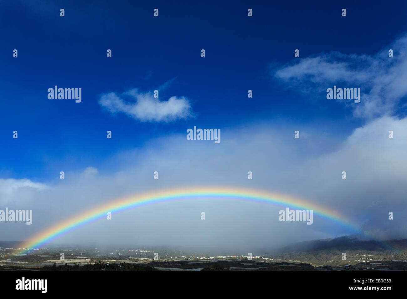 Rainbow in the foothills of mount Teide after a heavy storm, Tenerife, Canary Islands, Spain. - Stock Image