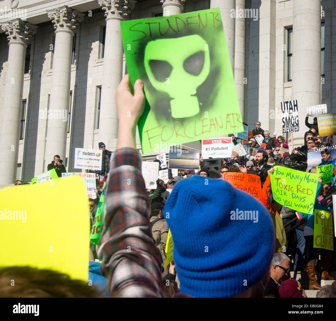Salt Lake City, Utah - Jan. 25, 2014. A student holds a sign that says 'Students for Clean Air' at the 'Clean - Stock Image