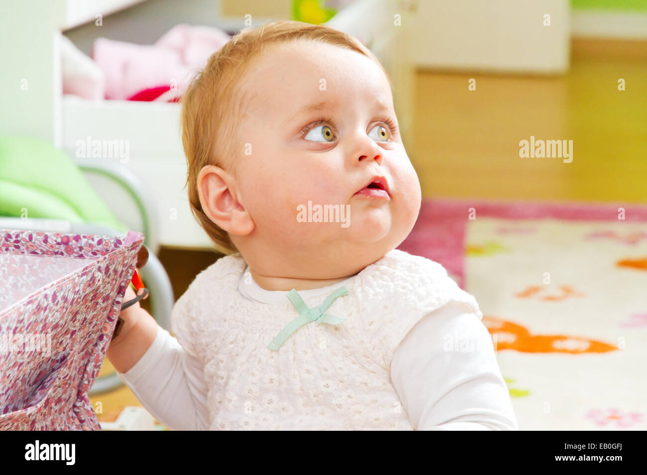 Portrait of a happy baby girl - Stock Image