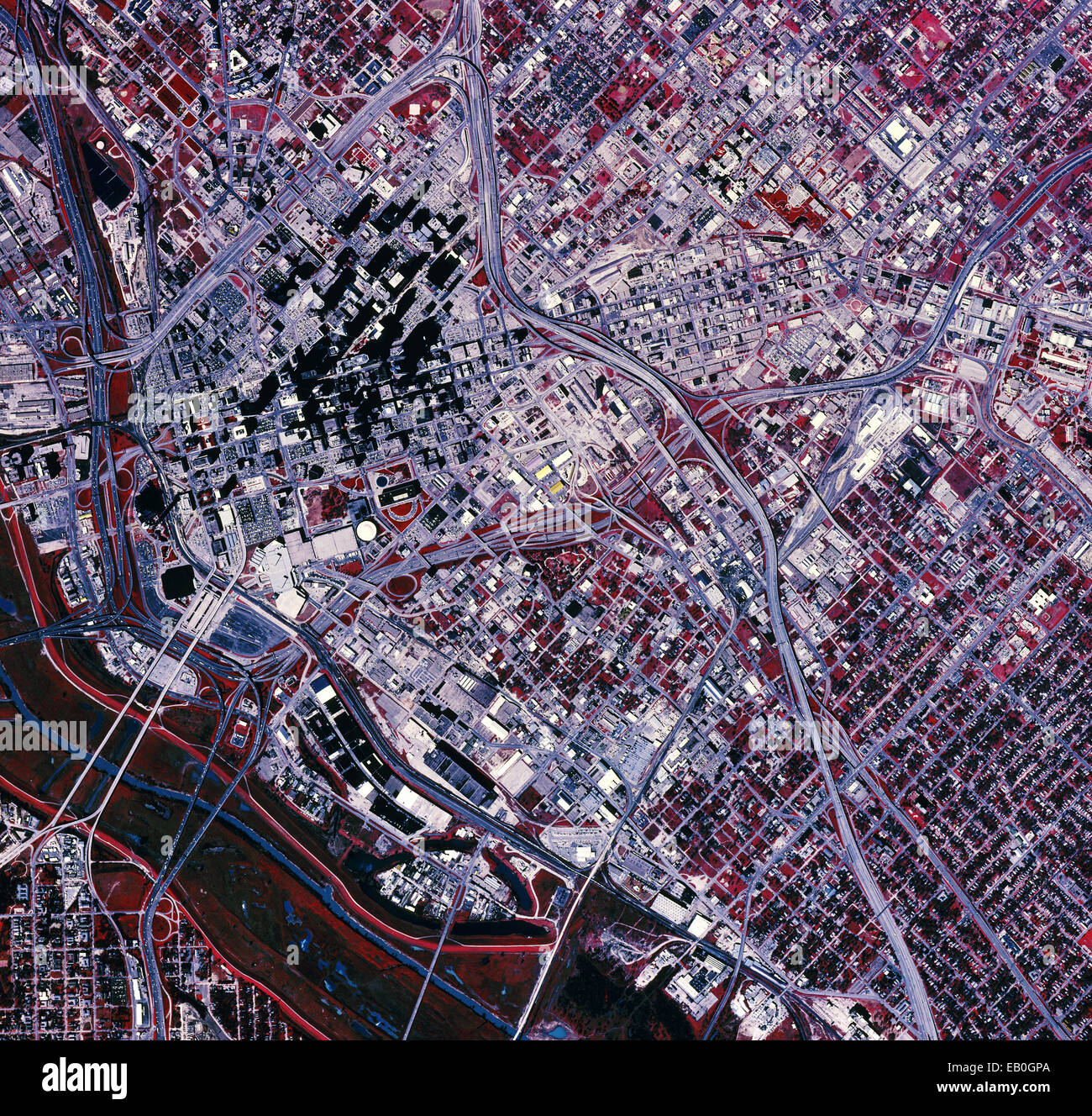 color infrared aerial photograph Dallas Texas 1995