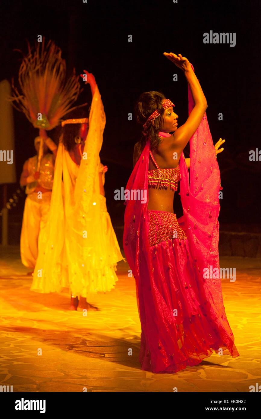 Traditional Sega dancing performed by dancers, Mauritius - Stock Image