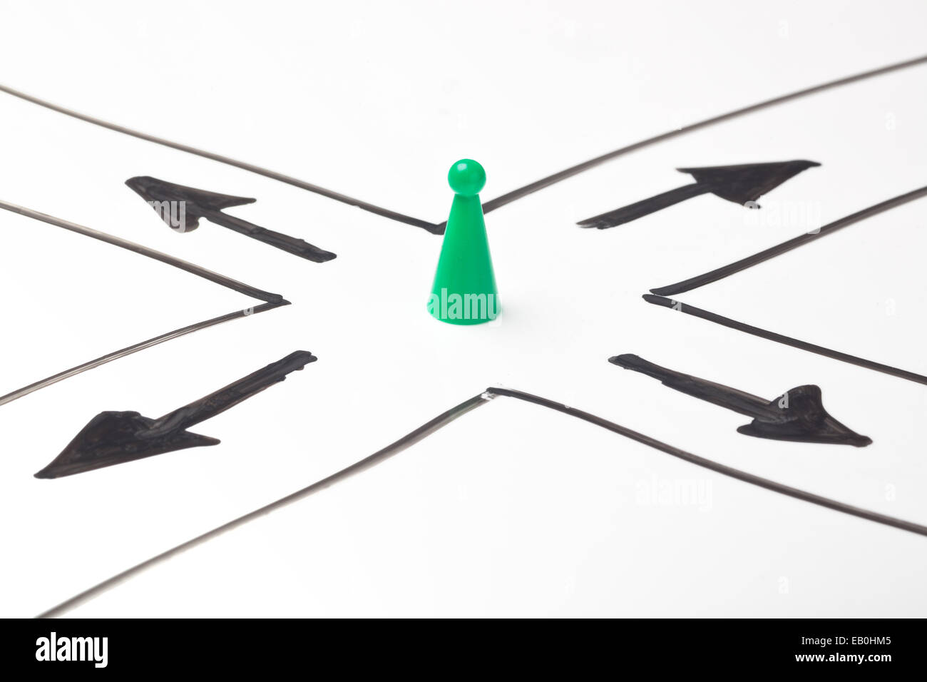 Figurine at a crossroad with arrows pointing at different directions - Stock Image