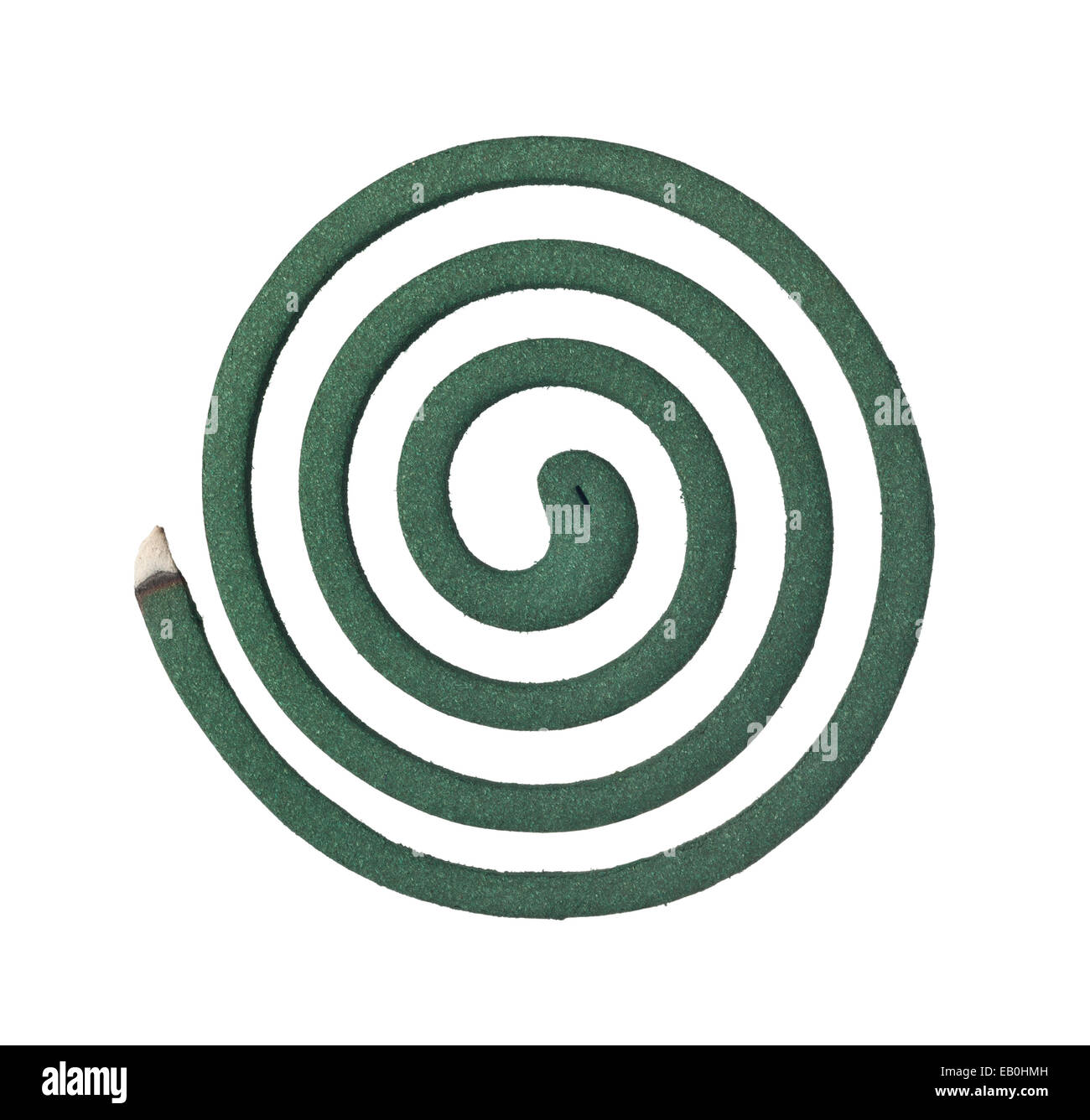 Burning mosquito coil isolated on white background - Stock Image