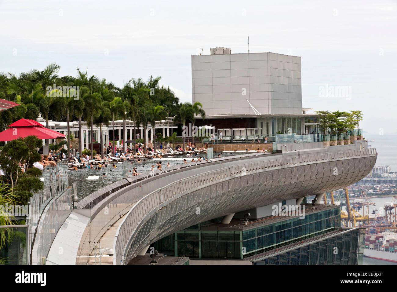 Singapore, said pool 'horizon' of the Marina Bay Sands hotel. - Stock Image