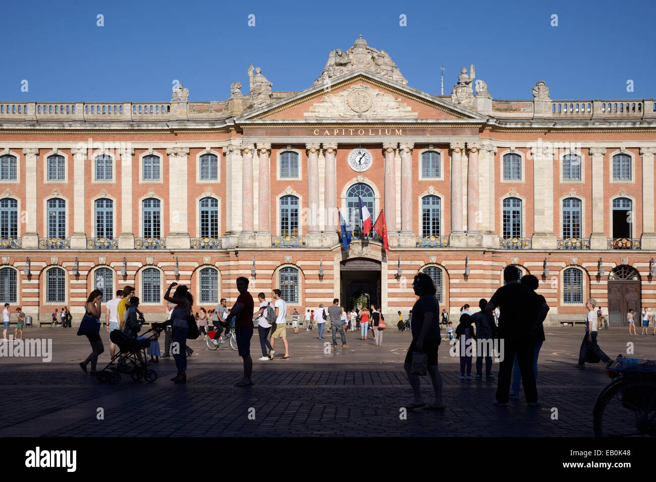 Town Hall or Mairie Facade on the Place du Capitole Town Square Toulouse France Stock Photo