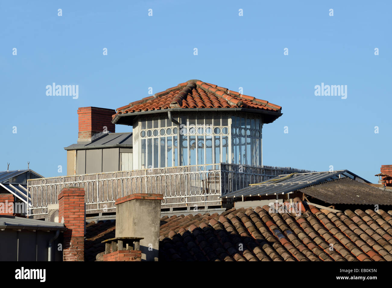 Rooftop Conservatory or Skylight Apartment Toulouse France - Stock Image