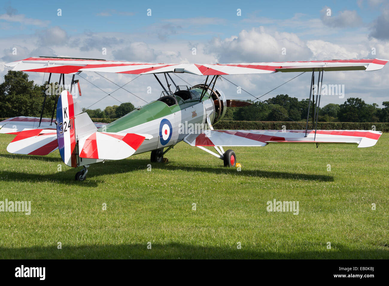 Biggleswade, UK - 29 June 2014: A vintage Avro Tutor bi plane on display at the Shuttleworth Collection air show. - Stock Image