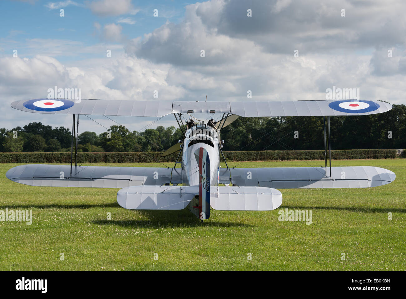 Biggleswade, UK - 29 June 2014: A vintage  Hawker Tomtit bi-plane on display at the Shuttleworth Collection air Stock Photo