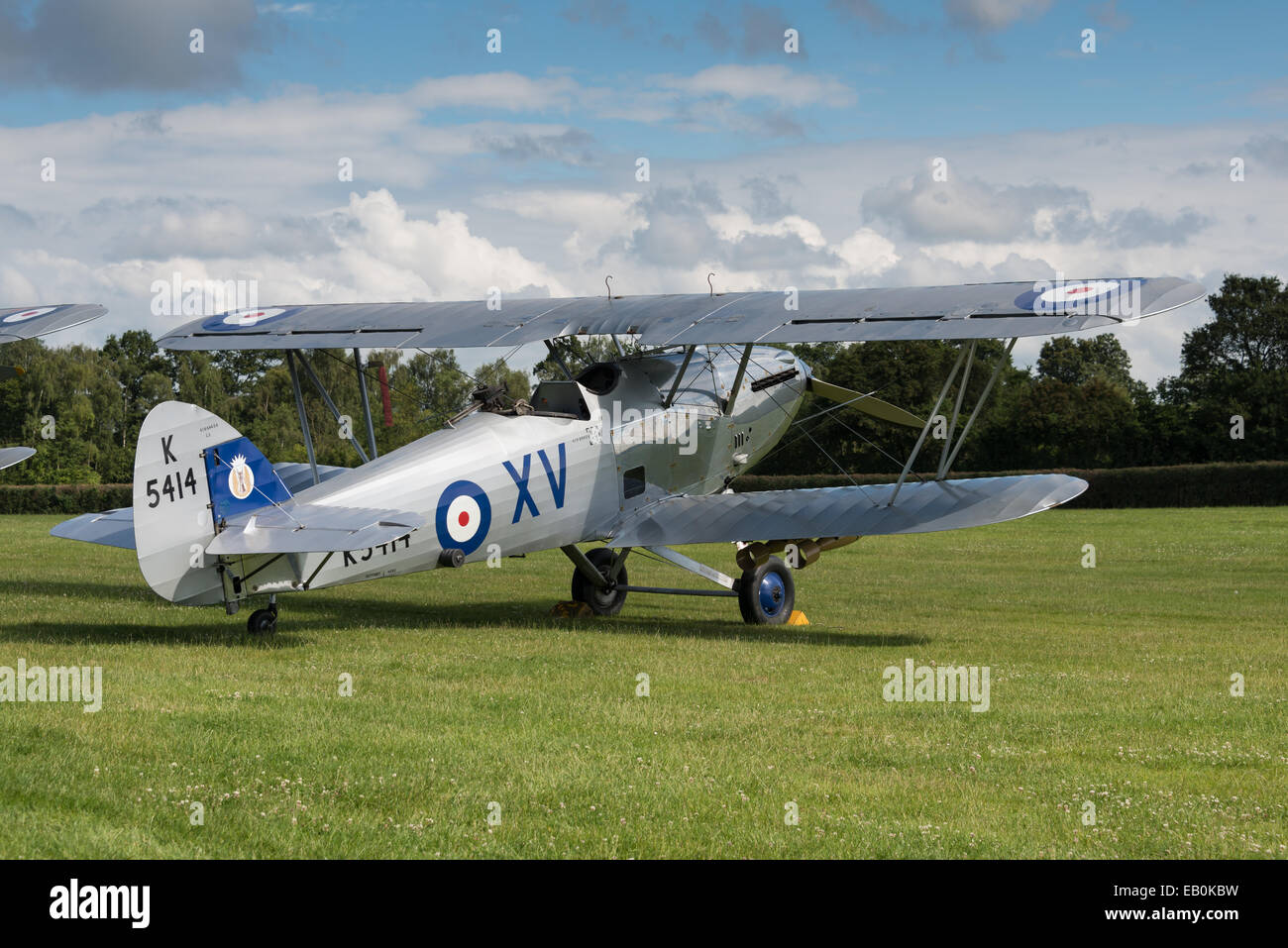 Biggleswade, UK - 29 June 2014: A vintage  Hawker Hind bi-plane on display at the Shuttleworth Collection air show. Stock Photo