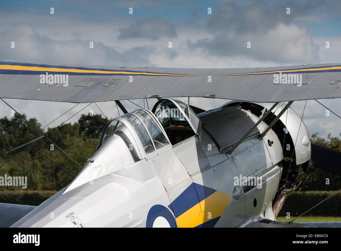 Biggleswade, UK - 29 June 2014: A  vintage  Gloster Gladiator bi-plane on display at the Shuttleworth Collection - Stock Image