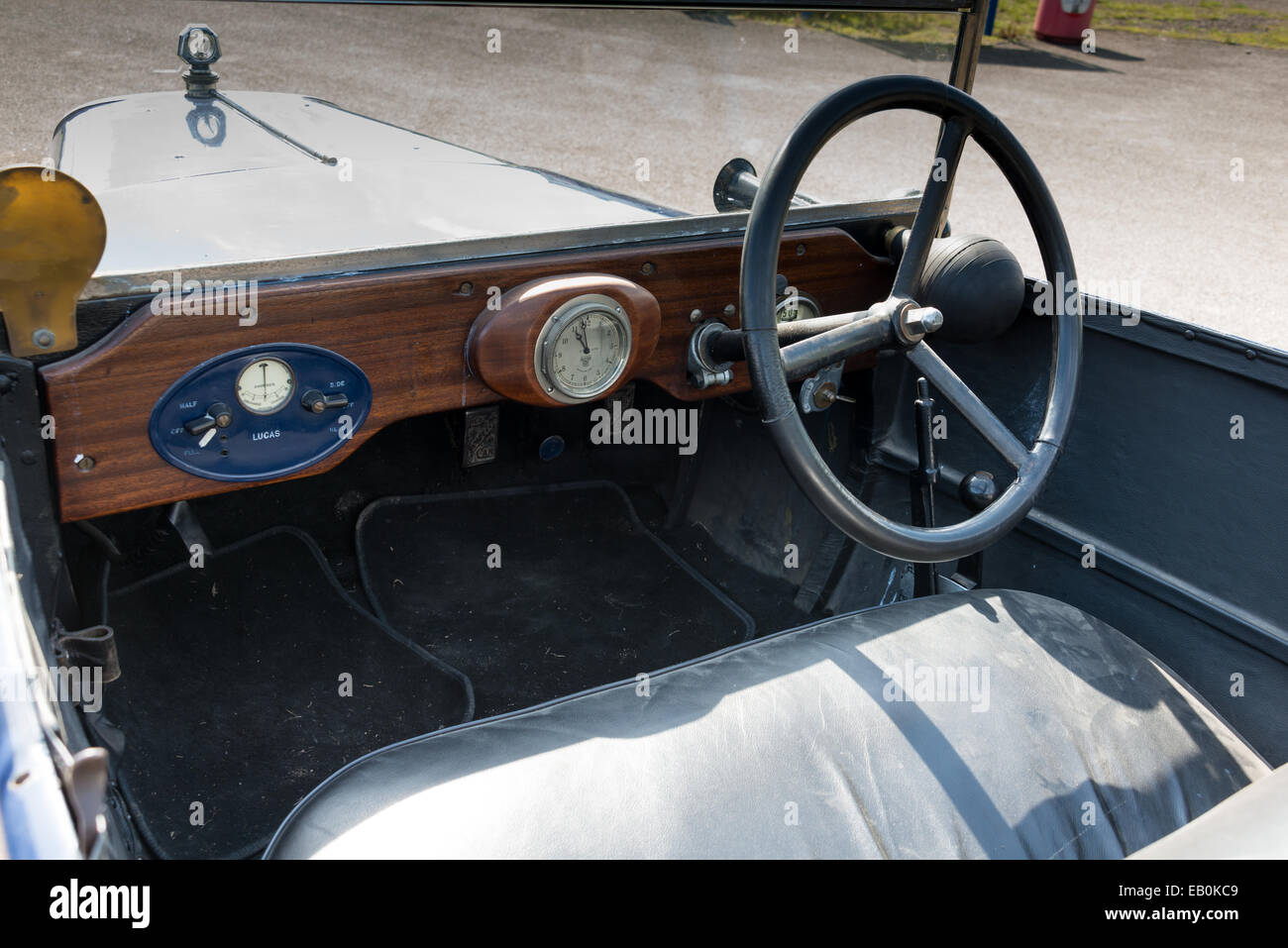 Biggleswade, UK - 29 June 2014: Interior of a vintage Jowett Type C car (1926) on display at the Shuttleworth Collection - Stock Image