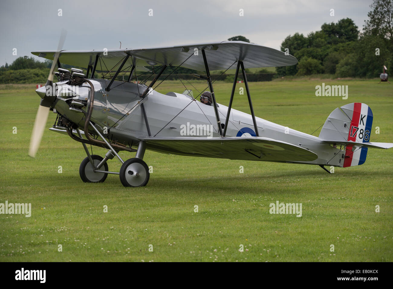 Biggleswade, UK - 29 June 2014: A vintage  Hawker Tomtit bi-plane on display at the Shuttleworth Collection air - Stock Image