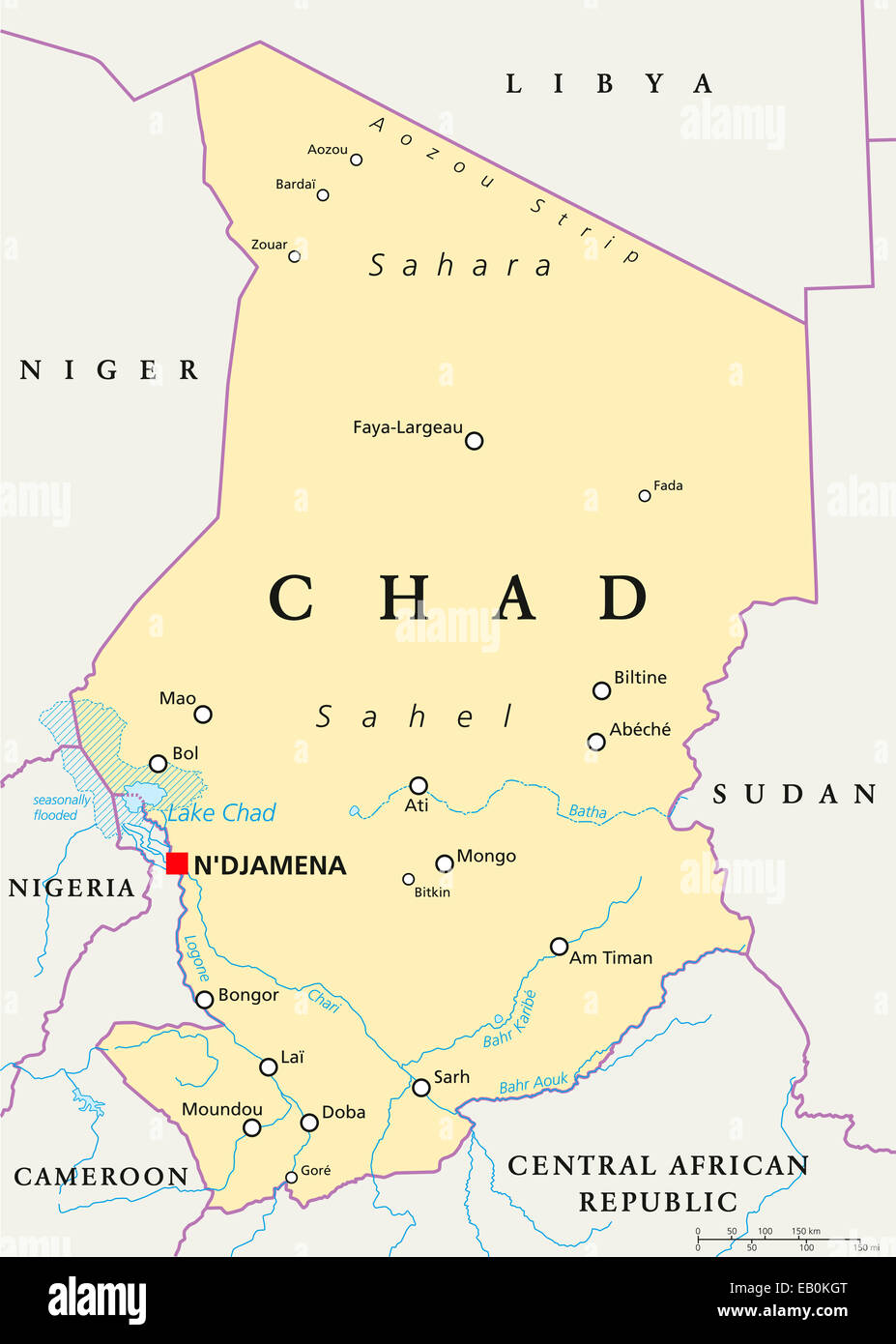 Chad Political Map with capital NDjamena national borders Stock