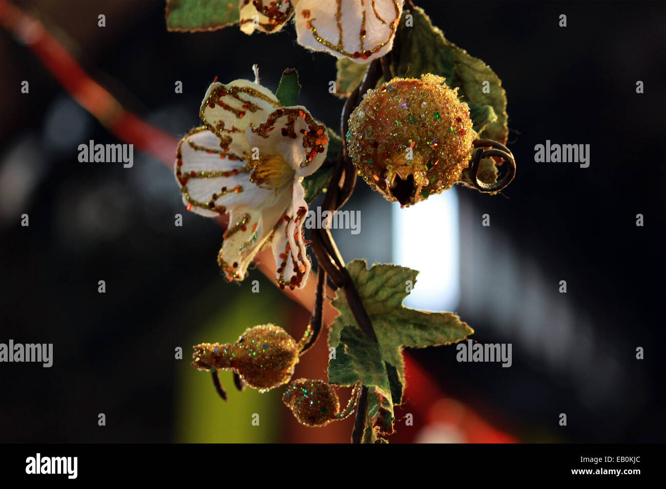 flower, artificial, leaf, color full, sparkle, hanging, in new Delhi, India. - Stock Image