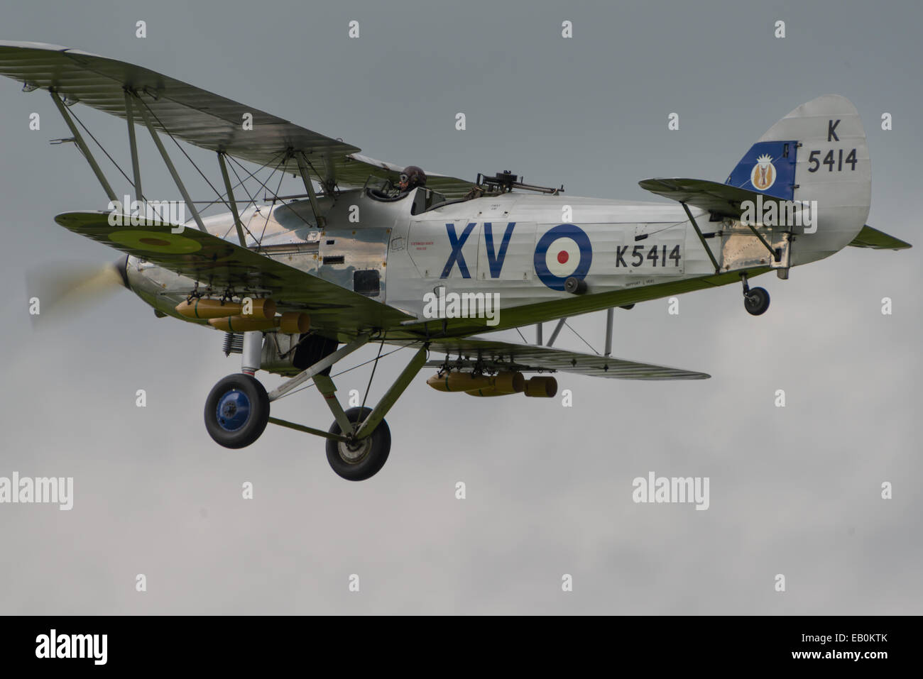 Biggleswade, UK - 29 June 2014: A  vintage  Hawker Hind bi-plane on display at the Shuttleworth Collection air show. - Stock Image
