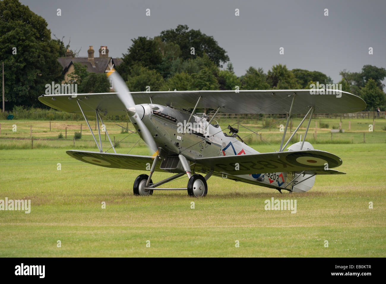 Biggleswade, UK - 29 June 2014: A  vintage  Hawker Demon bi-plane on display at the Shuttleworth Collection air - Stock Image