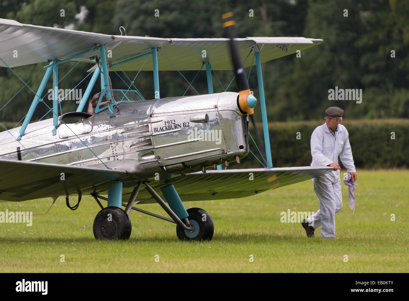 Biggleswade, UK - 29 June 2014: Vintage 1932 Blackburn B2 British bi-plane at the Shuttleworth Collection air show. - Stock Image